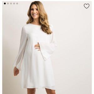 Maternity Dress Ivory Solid Chiffon Bell Sleeve